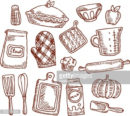 Vintage Baking Supplies Clipart Image.