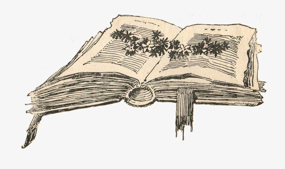 Vintage Open Book Clip Art.
