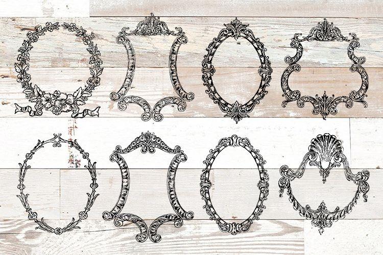 Vintage Ornate Frames Clipart Bundle PNG, EPS, SVG Vector.