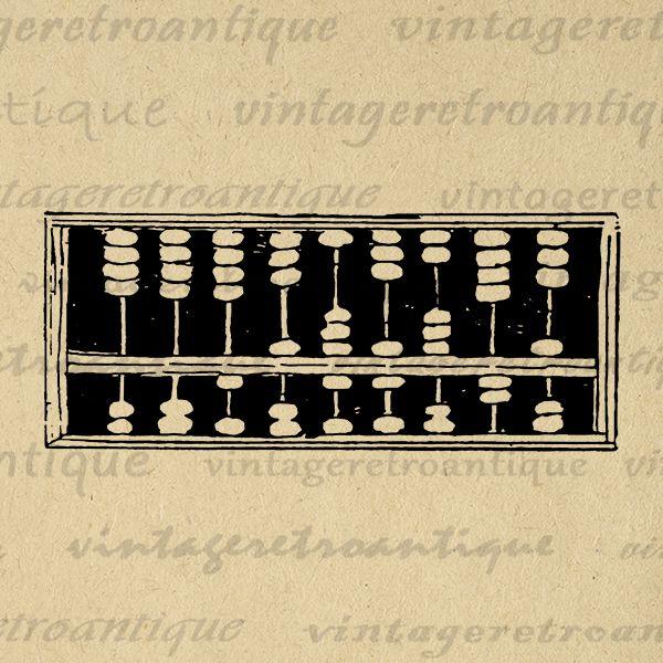 Vintage Abacus Antique Math Calculator Printable Graphic.