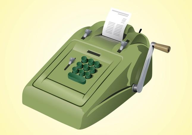 Vintage Calculator Clipart Graphic.