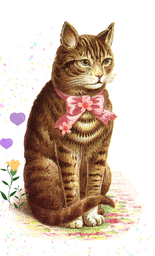 vintage clipart classic tabby cat with pink bow.