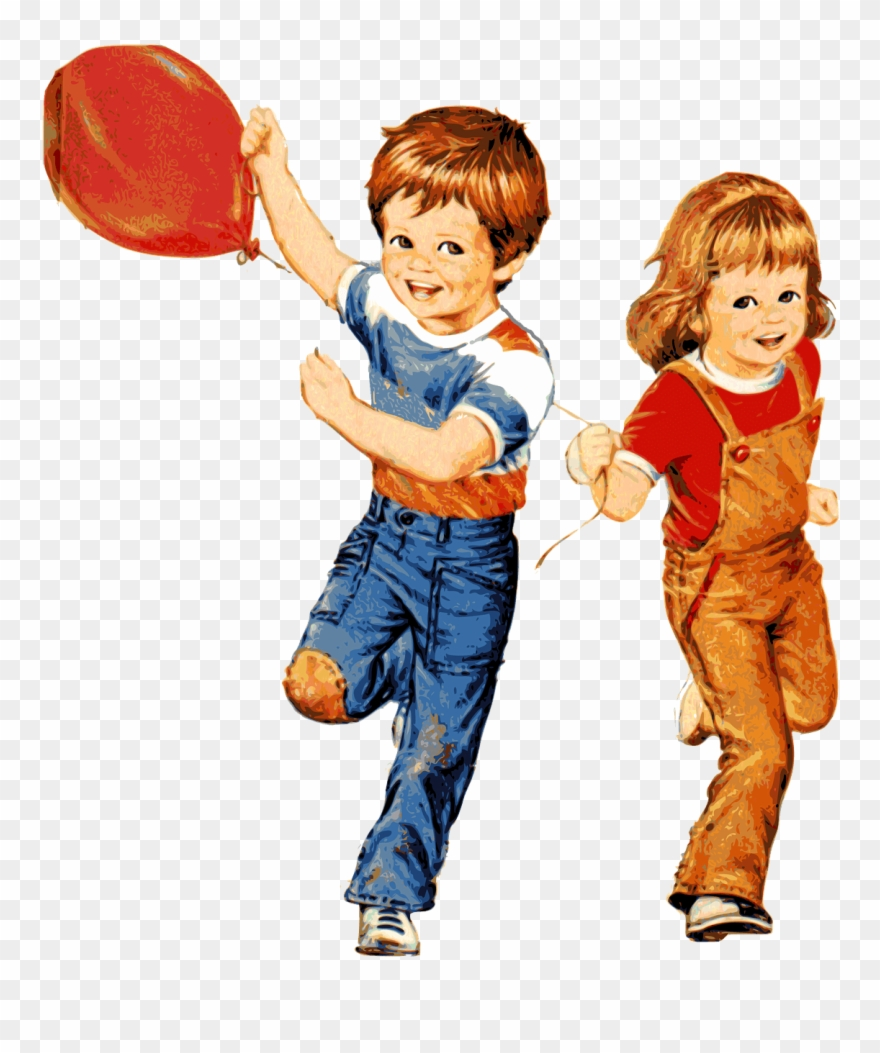 Children Playing With Balloon.