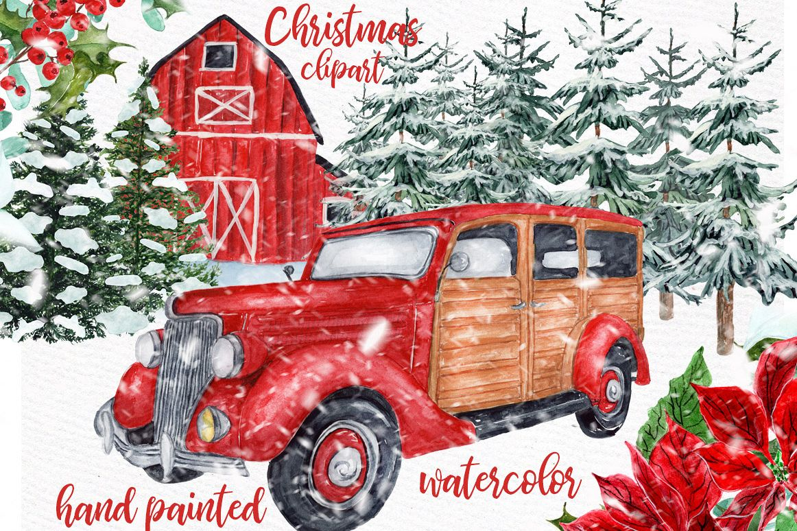 Watercolor Christmas Vintage Car clipart,Christmas retro Car.