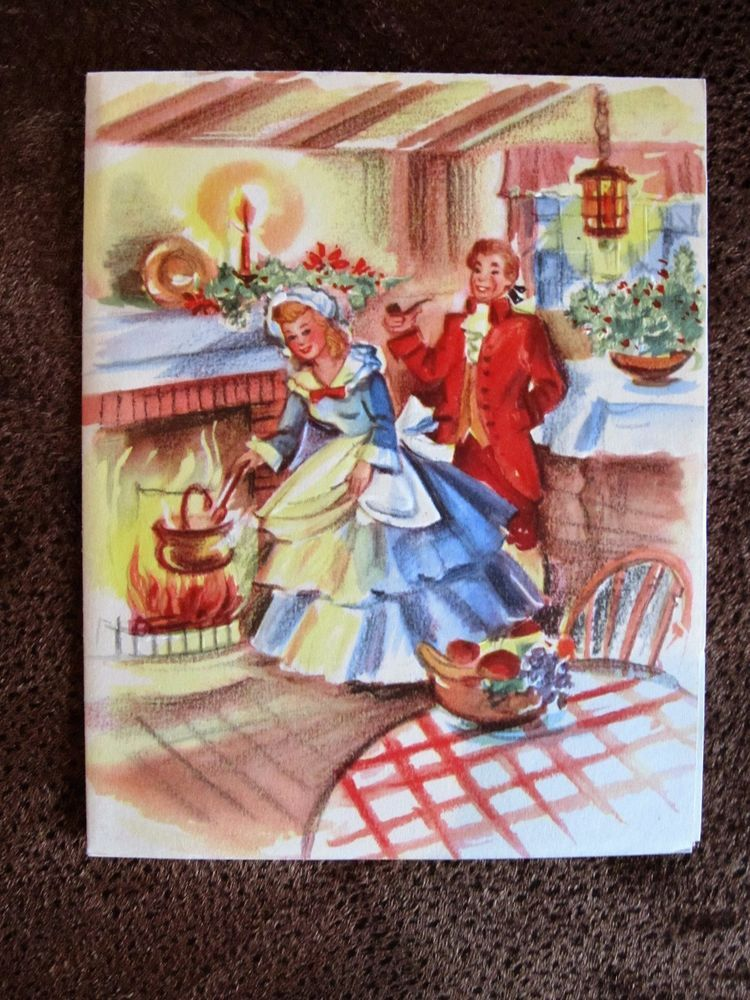 Vintage Christmas Card Old Fashioned Couple Girl Cooking.