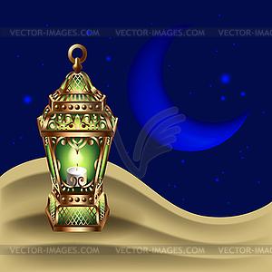 Night background with vintage gold lantern.