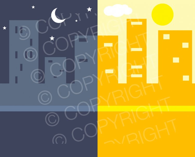 Night and Day Building Clip Art Illustration.