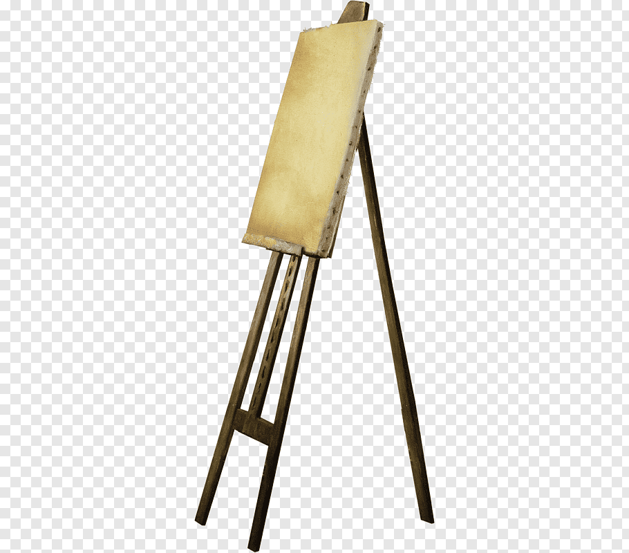 Brown paint canvas on brown wooden easel stand, Art Polyvore.