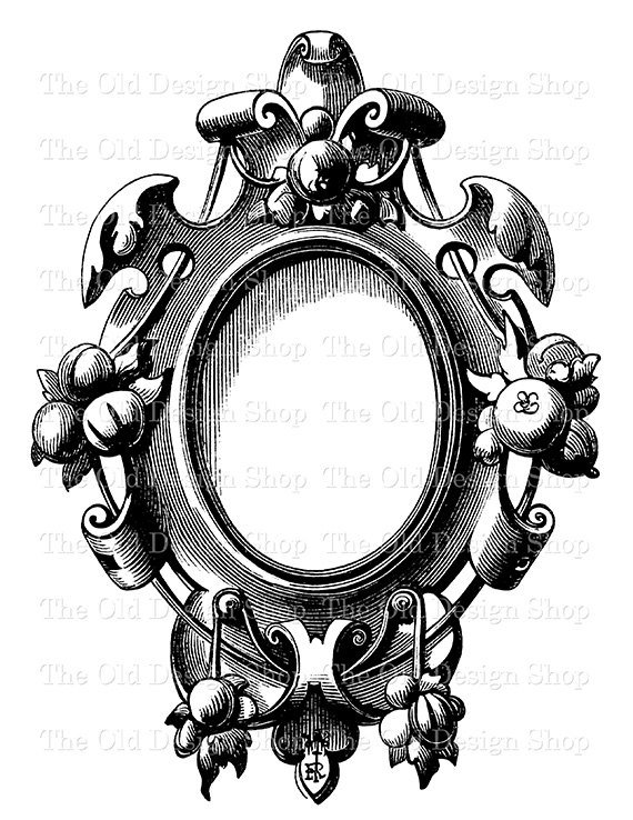 Vintage Clip Art Frame No. 2 Fairy Tale Snow White Mirror.