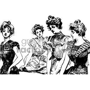 group of vintage woman vintage 1900 vector art GF clipart. Royalty.