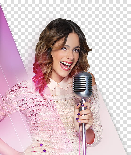 Woman using microphone transparent background PNG clipart.