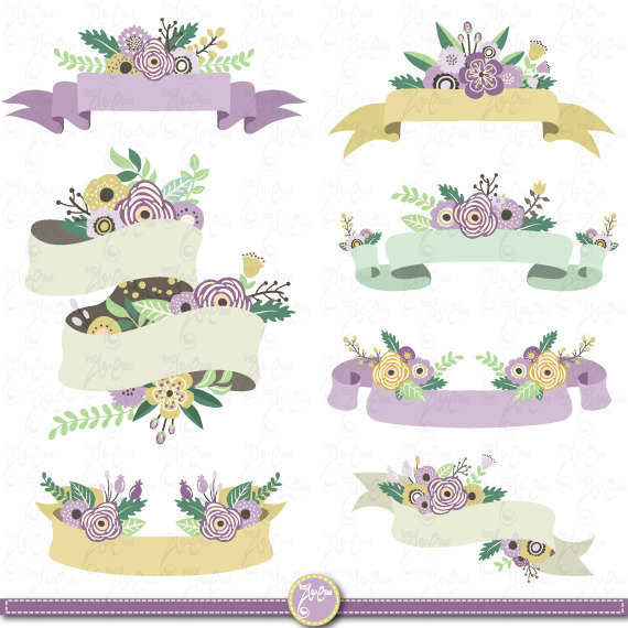 Flower Banners clipart \