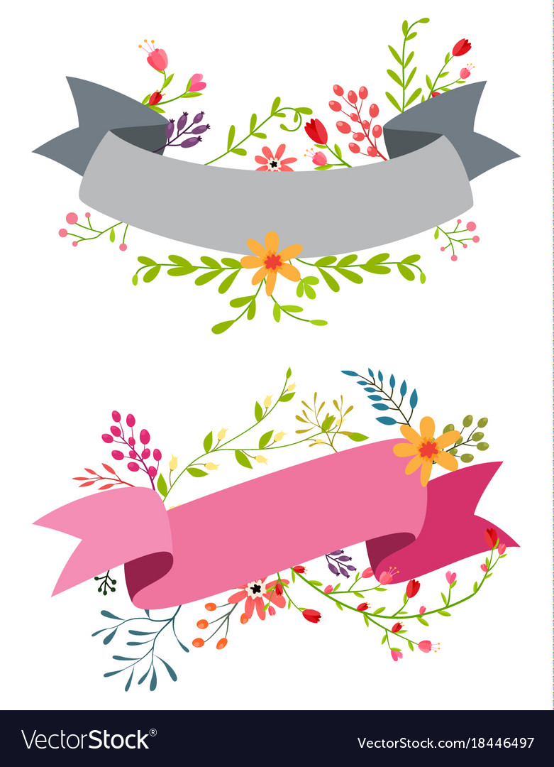 Vintage flower banner with ribbon.