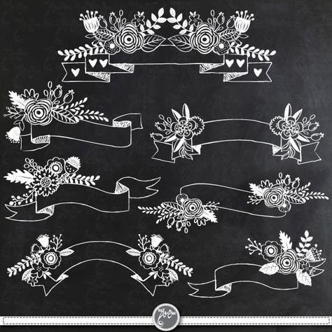Chalkboard Floral Banners clipart pack \