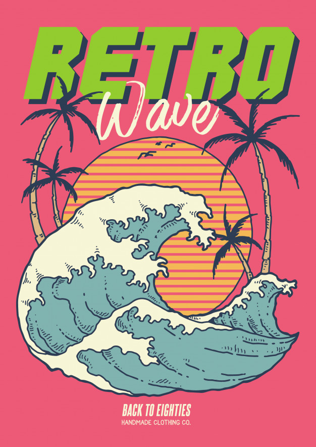 Retro wave 80\'s illustration with ocean sunset and coconut.