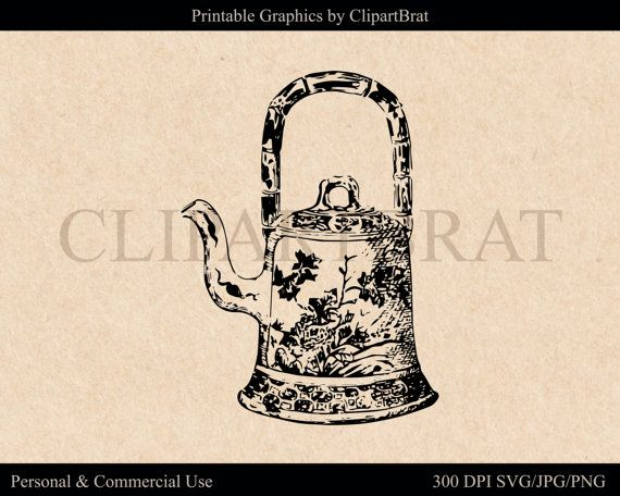 TEAPOT CLIPART for Commercial Use Planner Clip Art Vintage.