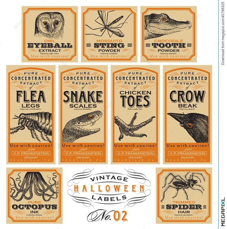 Funny Vintage Halloween Apothecary Labels.