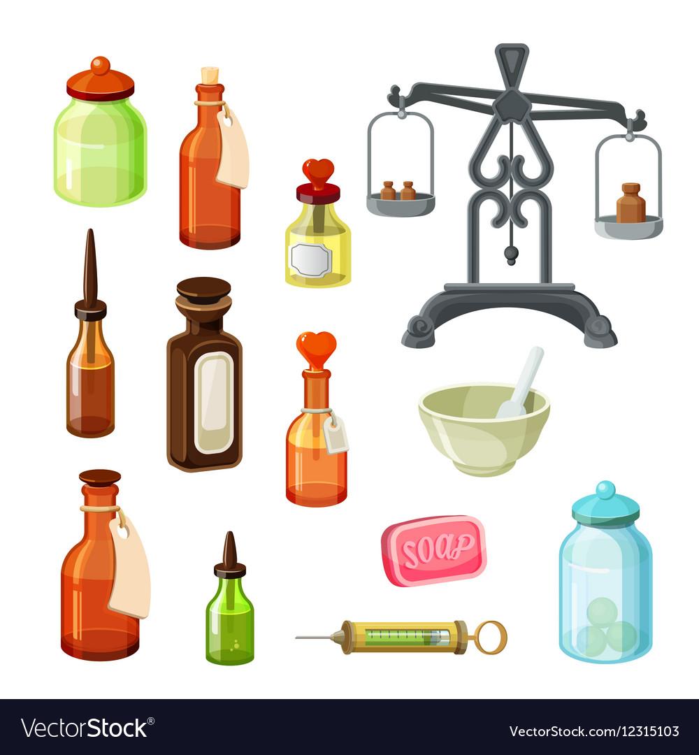 Apothecary set Vintage medicine bottles.