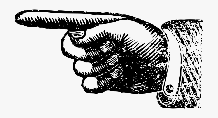 Vintage Hand Pointing Finger Clipart.