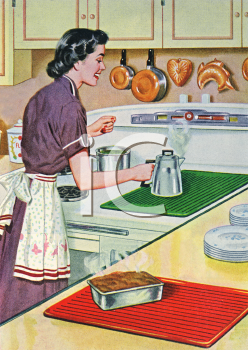 Mother In The Kitchen Clipart.