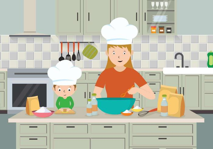 Free Mom And Child Cooking Illustration.