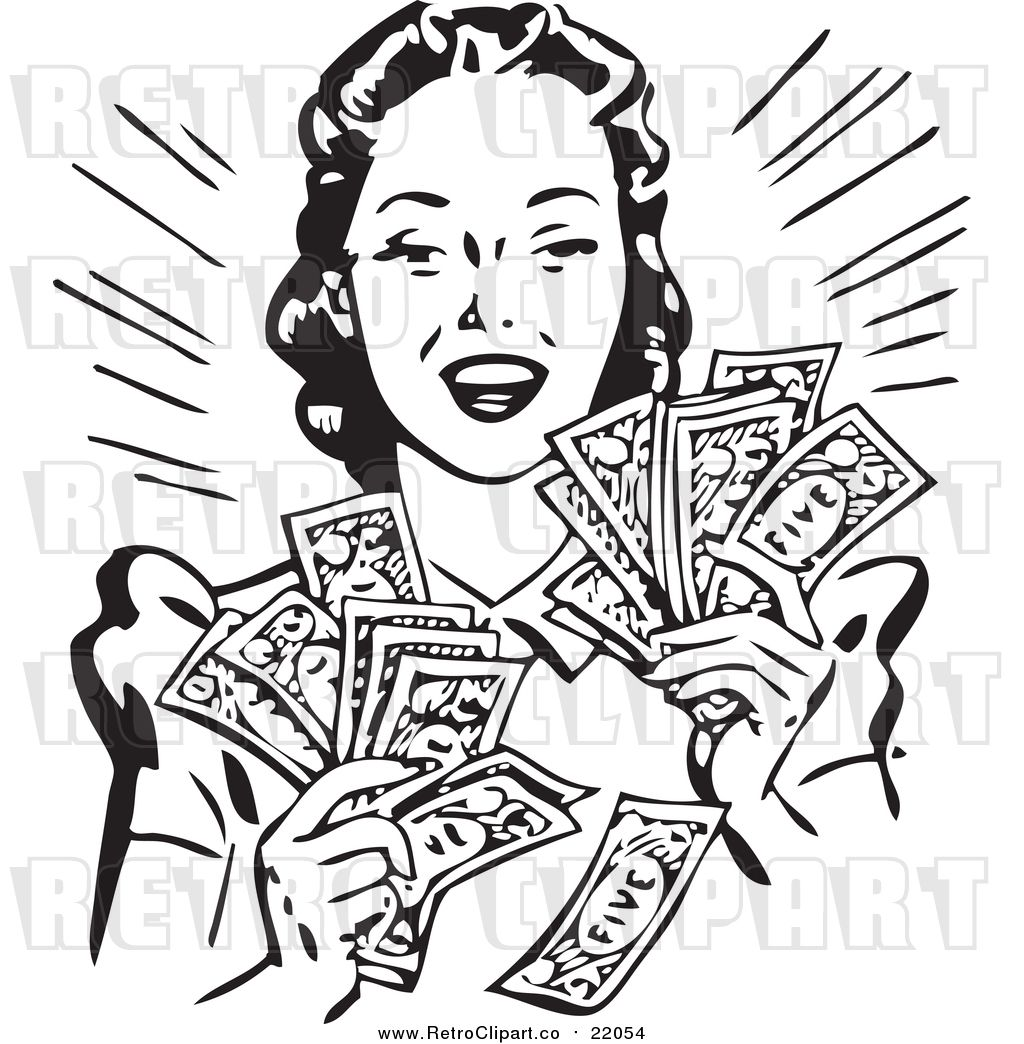 Vector Clipart of a Retro Woman Holding Handfulls of Cash.