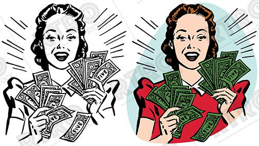 A smiling woman holding handfuls of cash vintage retro.