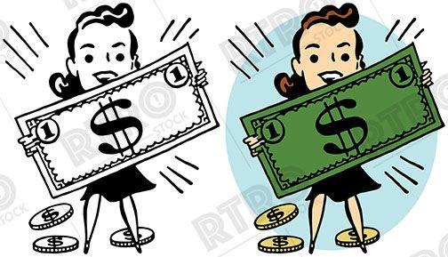 A cartoon woman holding up a giant dollar bill vintage retro.