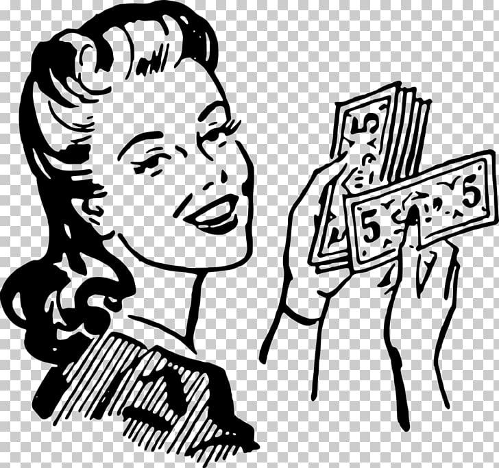 Money bag Woman , vintage woman PNG clipart.