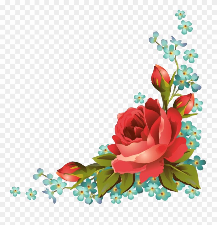 Ftestickers Art Floral Flowers Roses Corner Vintage.