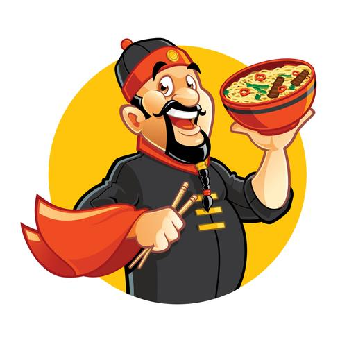 Chinese cartoon chef holding bowl with noddles.