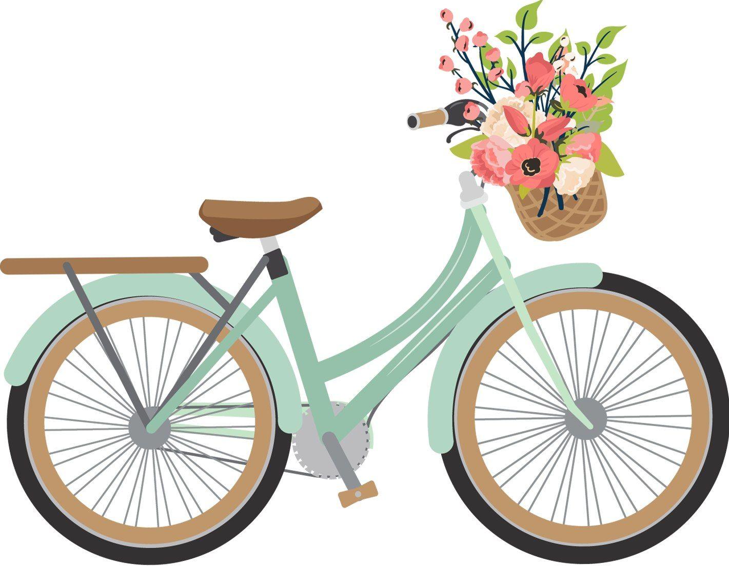 Vintage Bicycle with Basket Clip Art.