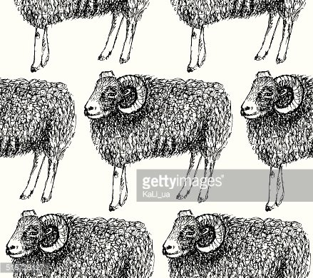Sketch New Year ram in vintage style Clipart Image.