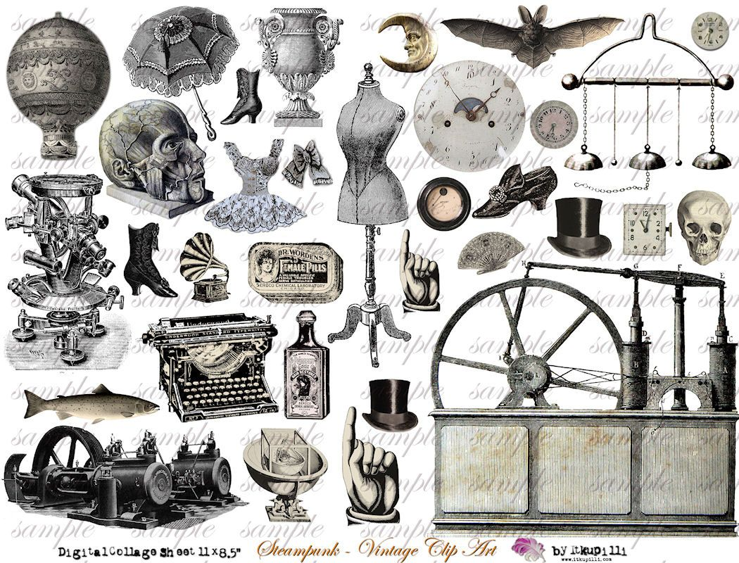 Steampunk/vintage clipart, I\'ll use these for my business.