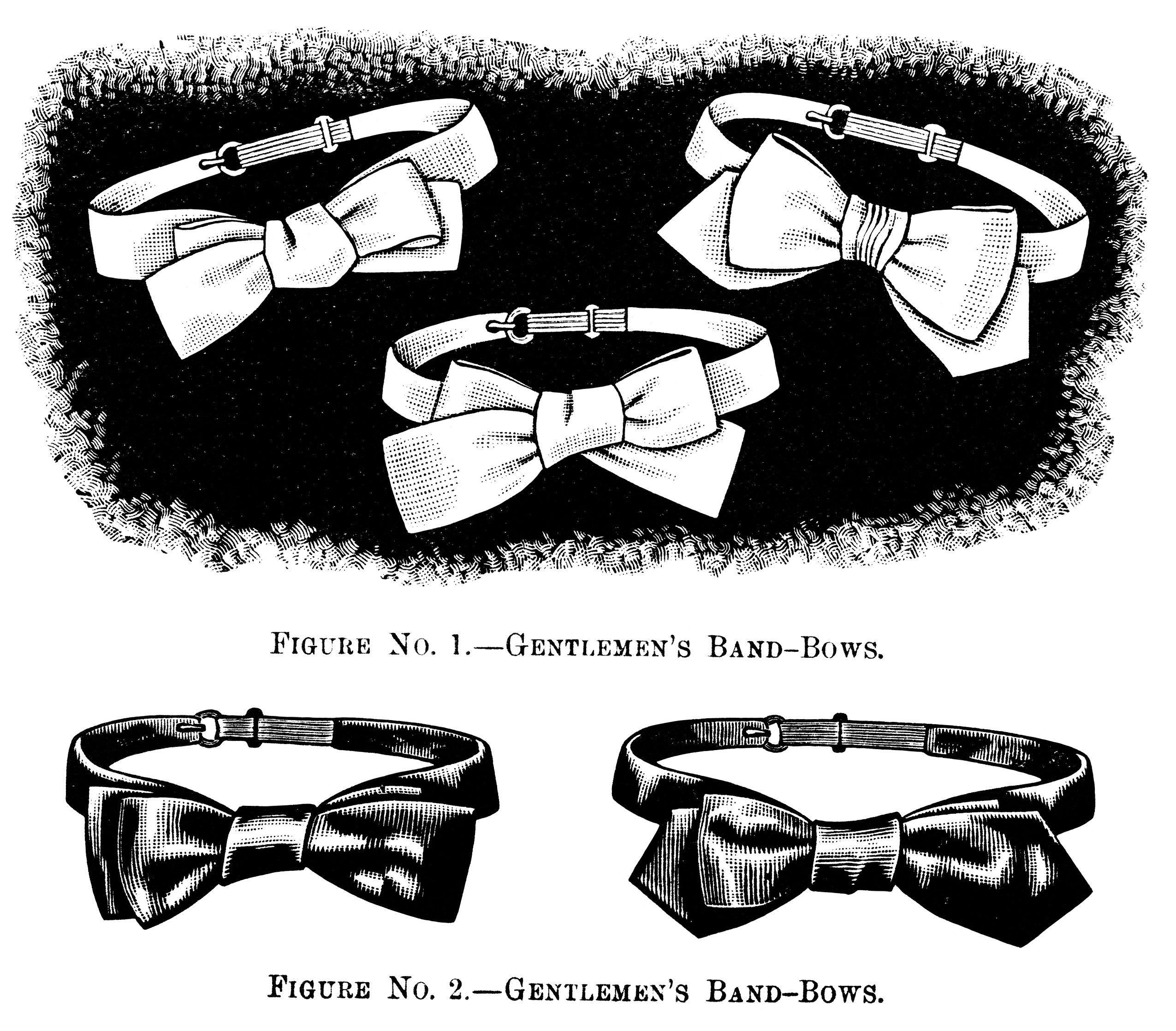 black and white clip art, gentlemen\'s bow tie illustration.