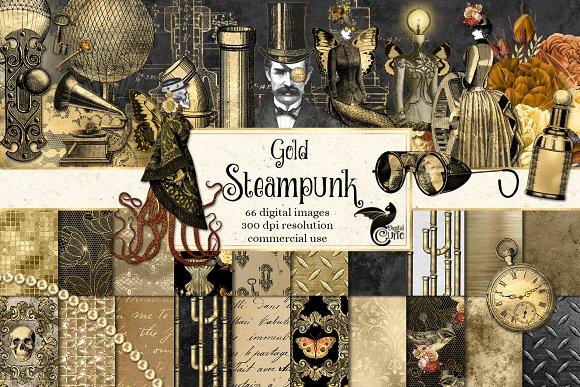 Gold Steampunk Digital Kit.