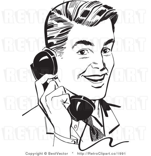 Smiling Retro Man Talking On A Telephone.
