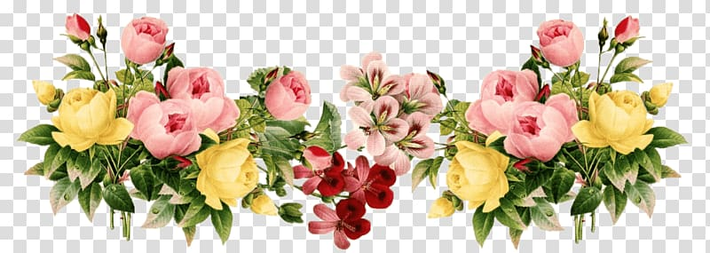 Pink and yellow flowers, Flowers Vintage Group transparent.