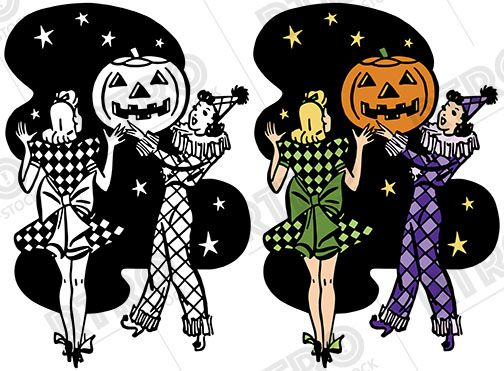 A vintage illustration of two women at a Halloween costume.