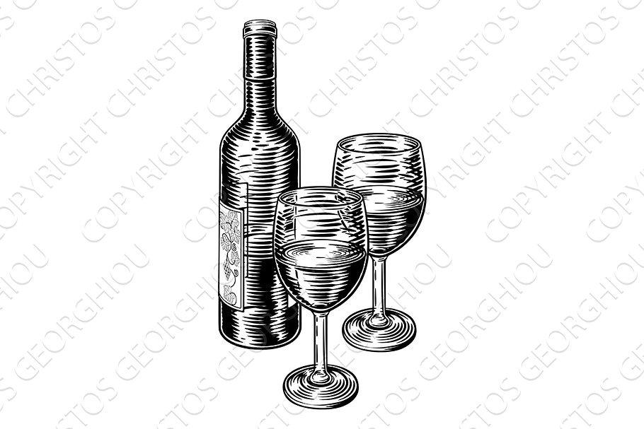 Wine Bottle and Glasses Vintage.