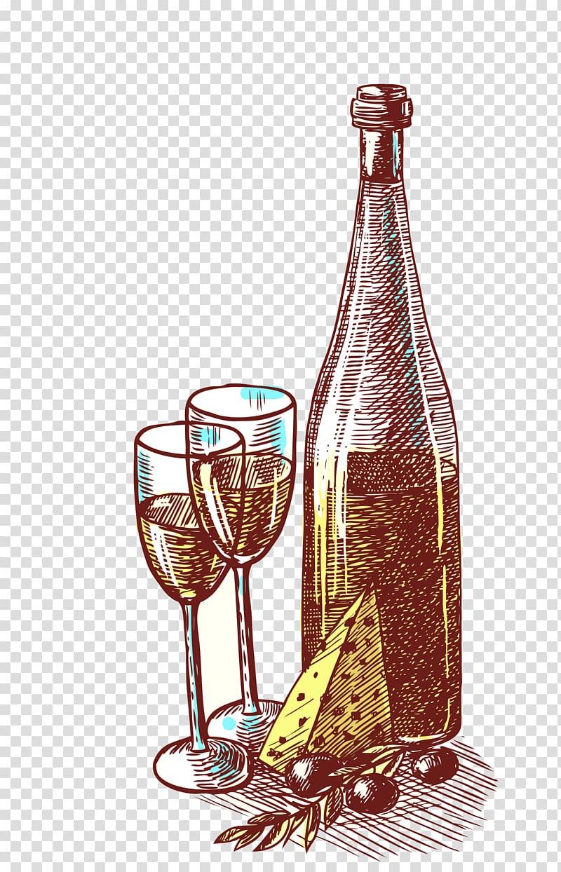 Red Wine Grape Bottle Drink, Vintage Wine transparent.