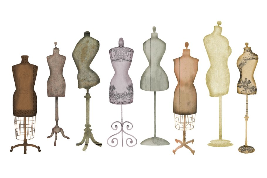 Vintage Dress Form Clip Art.