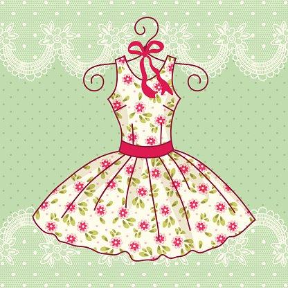 vintage dress Clipart Image.