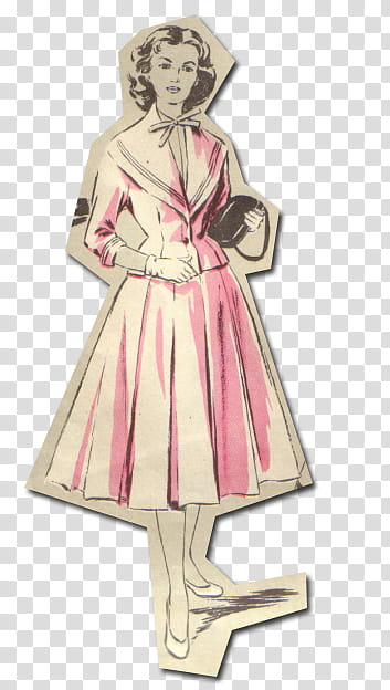 Retro style from s, women in pink dress transparent.