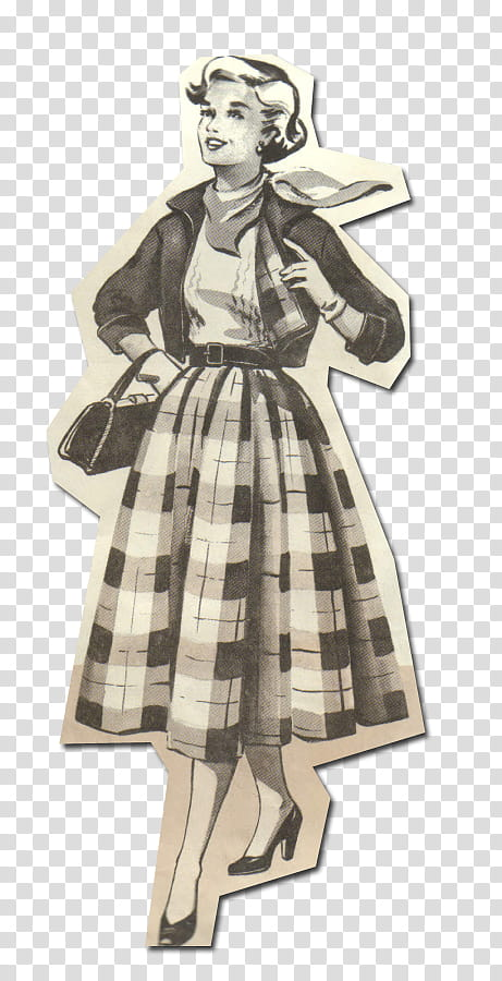 Retro style from s, woman sketch art transparent background.