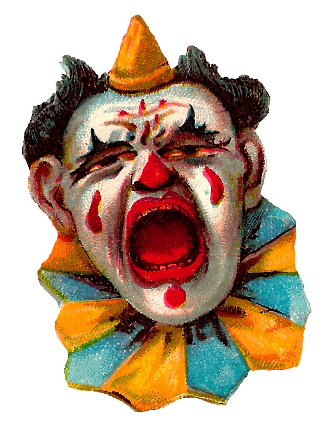 Vintage Circus Clown Clipart.