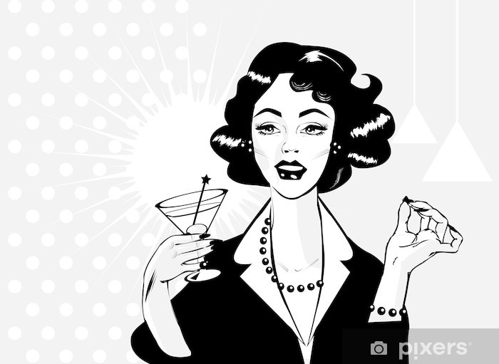 Woman drinking martini or cocktail retro vintage clipart Wall Mural.