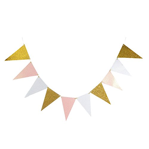Takefuns 10 Feet Vintage Style Triangle Flag Bunting Glitter Paper Pennant  Banner Kit for Wedding Anniversary Birthday Party Church Back.