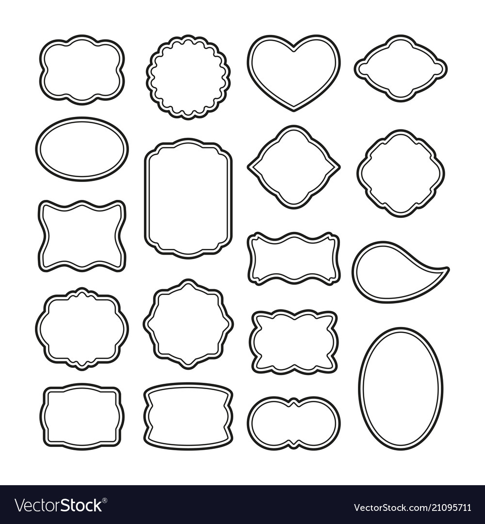 Decorative vintage frames blank labels template.