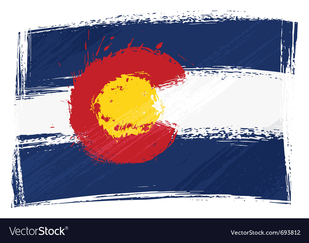 Grunge colorado flag.